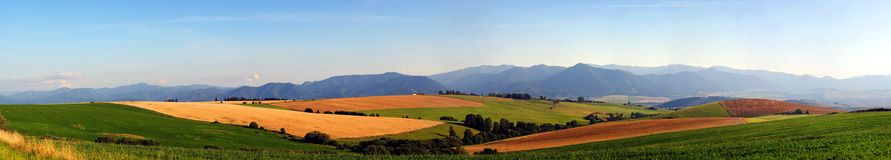 Panorama of meadows and fields Royalty Free Stock Image