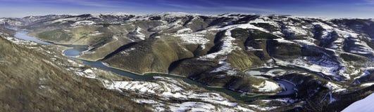 Panorama of Meandering lake Zavoj during winter stock photo