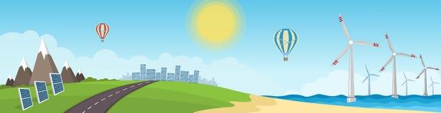 Panorama med bilden av en vindturbin och solpaneler rene Royaltyfria Bilder