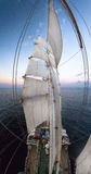 Panorama med segelbåtmaster Arkivbilder