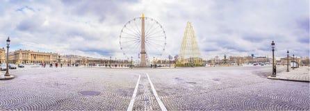 Panorama med stället de la Concorde i Paris Royaltyfria Bilder