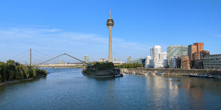 Panorama of the Media Harbor in Dusseldorf Royalty Free Stock Images
