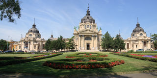 Panorama Medicinal Bath in the City Park, Budapest Royalty Free Stock Photography
