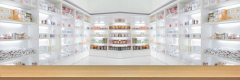 Panorama on medicine cabinet and store medicine and pharmacy dru. Gstore for Blurry background  with Perspective wood Royalty Free Stock Photography
