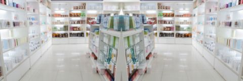 Panorama on medicine cabinet and store medicine and pharmacy drugstore for Blurry background stock image