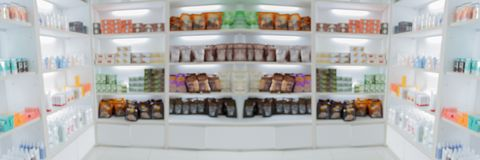 Panorama on medicine cabinet and store medicine and pharmacy drugstore for Blurry background. Panorama on medicine cabinet and store medicine and pharmacy royalty free stock images