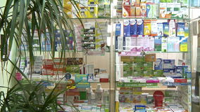 Panorama of medicines in pharmacies.