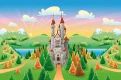 Panorama with medieval castle. Cartoon and illustration