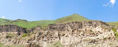 Panorama of medieval cave city monastery Vardzia Royalty Free Stock Photo
