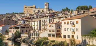 Panorama of medieval city Valderrobres stock photo