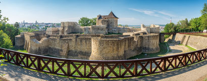 Panorama of medieval ruins of Suceava fortress in Suceava, Roman. Panorama of medieval ruins of Suceava fortress in Moldavia. The fortress was built in the late Royalty Free Stock Image