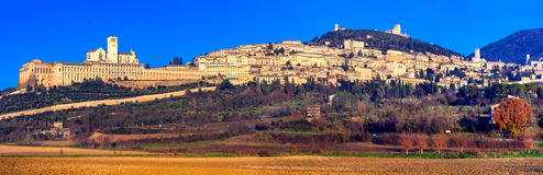 Panorama of medieval town Assisi - religious center of Umbria, I royalty free stock photography