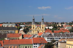 Panorama the medieval town of Eger.Hungary Stock Photos