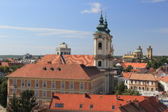 Panorama the medieval town of Eger.Hungary Stock Photo