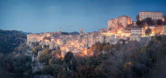 Panorama of medieval town Sorano. Tuscany, Grosseto, Italy stock images
