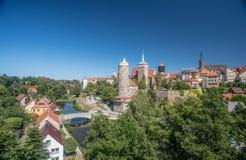 Panorama medievale della città di Bolzano, Germania Immagini Stock
