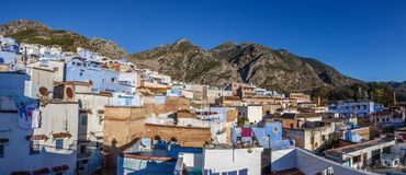 Panorama of the Medina of Chefchaouen royalty free stock images