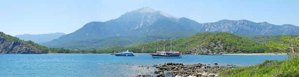 Panorama of mediteranean sea turkey Royalty Free Stock Photos