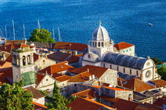 Panorama of the mediterranean city of Sibenik. And cathedral of St. James. Croatia Stock Photos