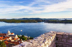 Panorama of the mediterranean city of Sibenik. And cathedral of St. James. Croatia Stock Images