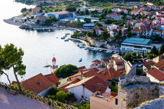 Panorama of the mediterranean city of Sibenik. From the St. Michael's Fortress. Croatia Stock Image