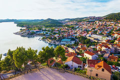 Panorama of the mediterranean city of Sibenik. From the St. Michael's Fortress. Croatia Stock Photo