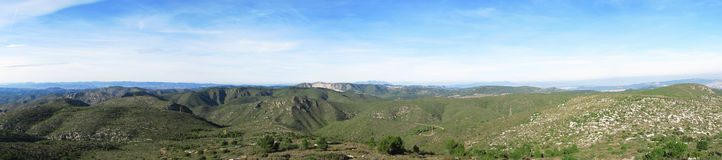 Panorama mediterranean mountains Royalty Free Stock Images