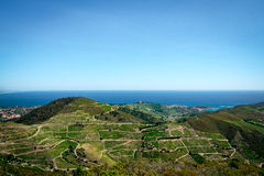 Panorama Mediterranean Sea. A view from the Pyrenees at the Mediterranean Sea Stock Images