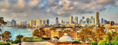 Panorama of the Mediterranean waterfront in Tel Aviv Stock Photos