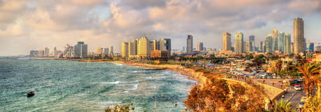 Panorama of the Mediterranean waterfront in Tel Aviv Royalty Free Stock Photo