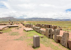 Panorama of megalithic stone complex Puma Punku Royalty Free Stock Photos