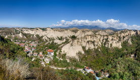 Panorama of Melnik, Bulgaria. Panorama of the smallest town in Bulgaria, surrounded by sandstone pyramids Royalty Free Stock Photo