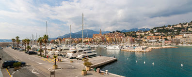 Panorama of Menton port - French Riviera, France Royalty Free Stock Photo