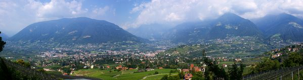 Panorama Merano in South Tyrol Stock Photo