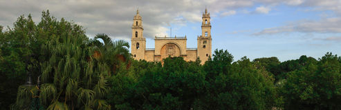 Panorama of Merida cathedral, Yucatan, Mexico. Stock Photos