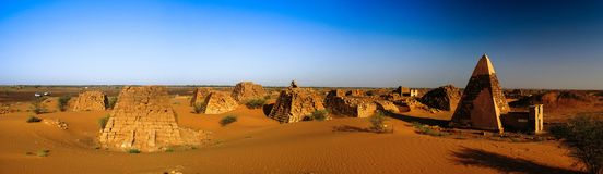 Panorama of Meroe pyramids in the desert Sudan, Stock Photo