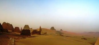 Panorama of Meroe pyramids in the desert at sunset, Sudan, Stock Photo