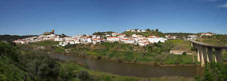 Panorama of Mertola, Guadiana river and bridge Royalty Free Stock Photography