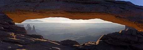 Panorama of Mesa Arch in Canyonlands National Park, Utah. A Panorama of Mesa Arch in Canyonlands National Park, Utah Stock Photos