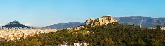 Panorama met Akropolis in Athene, Griekenland Stock Afbeelding
