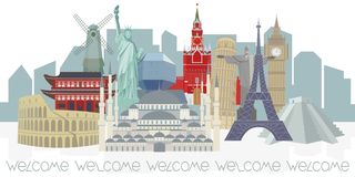 Panorama met architecturale wereldoriëntatiepunten vector illustratie