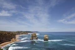 Panorama met de Twee Apostelen op de Grote Oceaanweg Stock Foto's