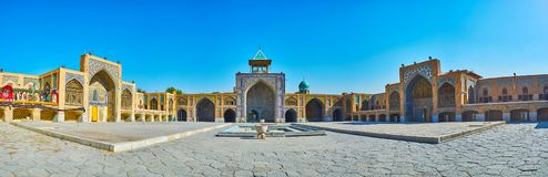 Panorama met drie portalen van Seyed-Moskee, Isphahan, Iran stock fotografie