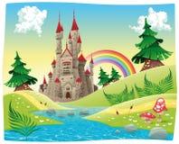 Panorama met kasteel. Stock Afbeelding