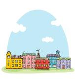 Panorama met leuke stad. vector illustratie