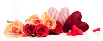 Panorama met rozen en harten Royalty-vrije Stock Foto's