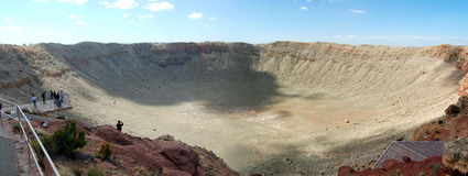 Panorama of Meteor Crater stock photos