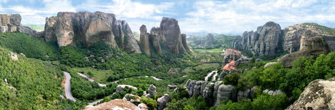 Panorama of Meteora stock images