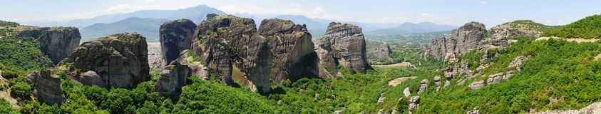 Panorama of Meteora, Greece Royalty Free Stock Image