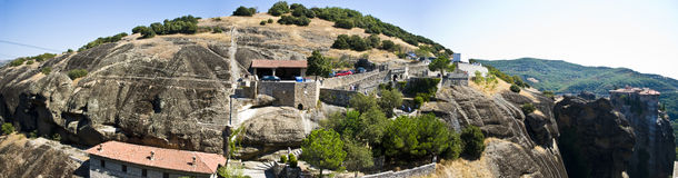 Panorama of Meteora monastery, Greece. Famous destination place of tourists stock images